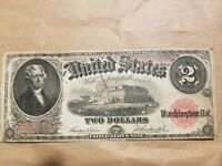 1917 $2 BILL LARGE SIZE UNITED STATES NOTE TEEHEE BURKE FR. 57 FINE VF