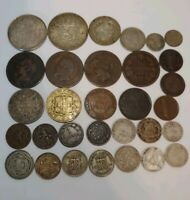 31 SILVER AND OLD FOREIGN COINS   13 SILVER COINS TOTAL   EA