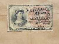 10 CENT FRACTIONAL NOTE FOURTH ISSUE BILL 4TH FR 1257 1/10 ONE DOLLAR BANKNOTE