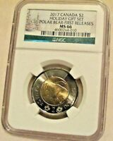 2017 CANADA NGC MS 66 POLAR BEAR $2 FIRST RELEASES HOLIDAY G