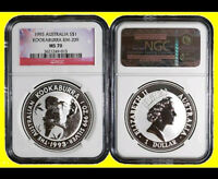 1993  AUSTRALIA 1 OZ SILVER  KOOKABURRA PERFECT NGC MS 70 NE