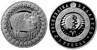 BELARUS 1 ROUBLE 2009 ZODIAC ARIES BEAUTIFUL AND  PROOF LIKE CU   NI COIN