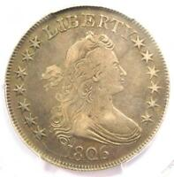 1806 DRAPED BUST HALF DOLLAR 50C COIN POINTED 6, STEM - PCGS VF20 - $725 VALUE
