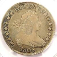 1806 DRAPED BUST HALF DOLLAR 50C COIN - CERTIFIED PCGS F12 -  COIN