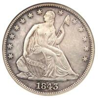 1843 SEATED LIBERTY HALF DOLLAR 50C - CERTIFIED ANACS EXTRA FINE 45 DETAIL -  COIN