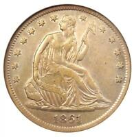 1861-S SEATED LIBERTY HALF DOLLAR 50C - CERTIFIED ANACS EXTRA FINE 40 DETAIL -  COIN