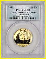 2011 CHINA ONE HALF OZ 999 GOLD PANDA  PCGS MS 70  LOW POP 7