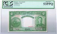 1936 BAHAMAS GOVERNMENT 4 SHILLINGS NOTE P. 9E PCGS 53 PPQ ABOUT NEW AU NICE