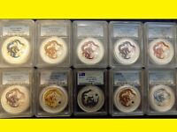 2012 COLORIZED SILVER DRAGON D ONLY 10X 1 OZ COMPLETE  SET P