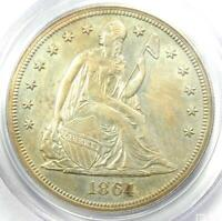 1864 PROOF SEATED LIBERTY SILVER DOLLAR $1 COIN - PCGS PROOF DETAILS PR/PF