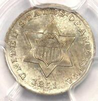 1851 THREE CENT SILVER PIECE 3CS - PCGS UNCIRCULATED -  BU MS CERTIFIED COIN
