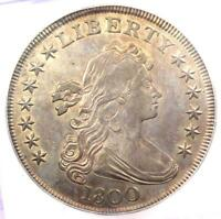 1800 DRAPED BUST SILVER DOLLAR $1 COIN - CERTIFIED ICG AU55 - $11,600 VALUE