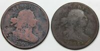PAIR OF DRAPED BUST HALF CENTS 1803 1804 PLAIN 4 NO STEMS AV