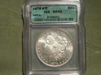 1878 8TF VAM-4 MORGAN DOLLAR ICG MINT STATE 63 UNIQUE FEATHERS BELOW EAGLE WINGS DOT ON F