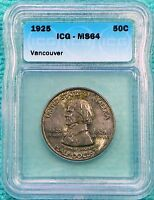 1925 MINT STATE 64 FORT VANCOUVER CENTENNIAL SILVER ONLY 14,994 MINTED LOT 2