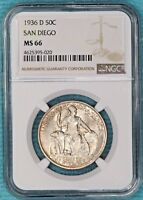 1936-D MINT STATE 66 CALIFORNIA PACIFIC INTERNATIONAL SAN DIEGO SILVER 30,092 MINTED