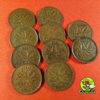 CANADA 10PCS 1 CENT 1940 49 ALL YEARS COIN MIX LOT VERY NICE