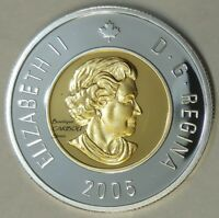 2005 CANADA SILVER PROOF TOONIE GOLD PLATED