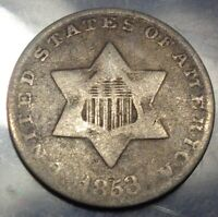 ORIGINAL TONED  GOOD TO FINE 1853 THREE 3C SILVER TRIME TYPE COIN
