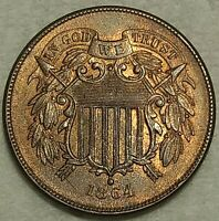 UNCIRCULATED  1864 TWO CENT PIECE  LUSTROUS RED BROWN SPECIM