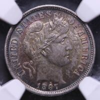 1897 BARBER DIME NGC MINT STATE 62 -  COLOR       3-13KCNT