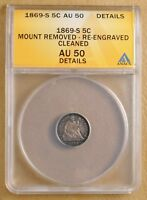 1869 S SEATED LIBERTY HALF DIME ANACS AU 50 DETAILS