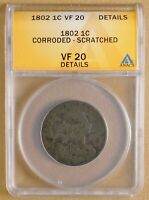 1802 DRAPED BUST LARGE CENT ANACS VF 20 DETAILS