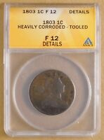 1803 DRAPED BUST LARGE CENT ANACS F 12 DETAILS