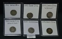 WPC  6 SEATED DIMES - 1845 1852 1853 W ARROWS 1854 ARROW AT DATE 1875 1876