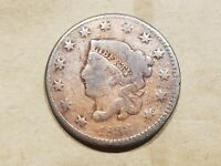 1833 LARGE CENT CORONET HEAD UNITED STATES 1 PENNY COPPER COIN