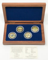 1998 NEPAL WILDLIFE 4 GOLD .999 COIN SET COA WOOD BOX SCC