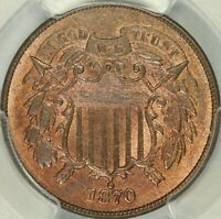 1870 TWO CENT PIECE PCGS MINT STATE 65RB CAC
