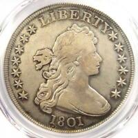 1801 DRAPED BUST SILVER DOLLAR $1 - CERTIFIED PCGS VF DETAILS -  COIN