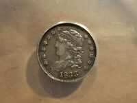 1833 HALF DIME CAPPED BUST SILVER 5 CENTS COIN EXTRA FINE XF ANACS EF 40 DETAILS