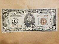 1934 A HAWAII $5 SILVER CERTIFICATE WORLD WAR 2 WWII WW2 LY FINE EF