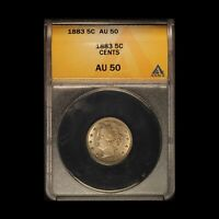1883 WITH CENTS 5C LIBERTY NICKEL ANACS AU 58 - SHIPS FREE USA