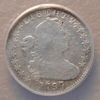 1797 DRAPED BUST HALF DIME ANACS GOOD 6 DETAILS