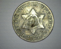 1853 US THREE CENT SILVER PIECE - TYPE 1 , HARD TO FIND -   GOOD - 3CS