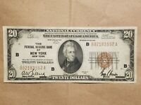 1929 $20 FEDERAL RESERVE BANK NOTE NEW YORK FRBN NATIONAL FR 1870 B NICE