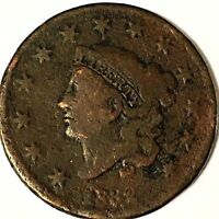 1832 LARGE  CENT SHIPS FREE          CA703