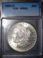 1904-O MORGAN SILVER DOLLAR, ICG MINT STATE 61, FAST TRACKED SHIPPING
