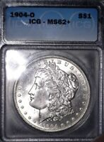 1904-O MORGAN SILVER DOLLAR, ICG MINT STATE 62, FAST TRACKED SHIPPING