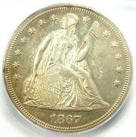 1867 SEATED LIBERTY SILVER DOLLAR $1 - CERTIFIED ICG MINT STATE 62 PL - $4,060 VALUE