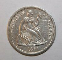 1861-S UNC SEATED SILVER DIME S35