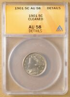 1901 LIBERTY V NICKEL ANACS AU 58 DETAILS