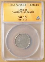 1895 LIBERTY V NICKEL ANACS VG 10 DETAILS