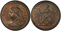 BRITAIN ANNE. 1714 CU PATTERN FARTHING PCGS PR66RB TOWER PECK 741. SUPERB GLOSSY