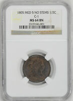 1805 DRAPED BUST 1/2C NGC MINT STATE 64 BN
