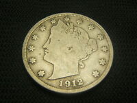 1912 D FINE OLD LIBERTY V NICKEL BARBER NICKEL TYPE COIN SHIPS FREE