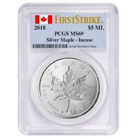 2018 1 OZ SILVER CANADIAN INCUSE MAPLE LEAF PCGS MS 69 FIRST